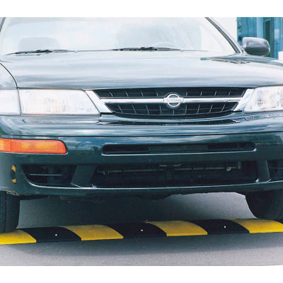 """72"""" Rubber Speed Bump, Black with Yellow Stripes"""