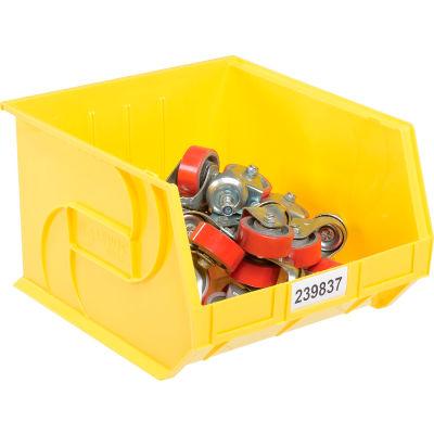 """LEWISBins Plastic Stacking Bin PB1816-11 - 16-1/2""""W x 18""""D x 11""""H, Yellow - Pkg Qty 3"""