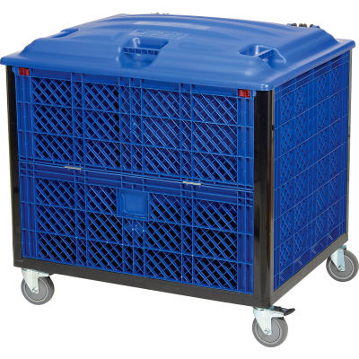 Global Industrial™ Collapsible Solid Wall Bulk Container Drop Gate Lid Casters 39-1/4x31-1/2x29