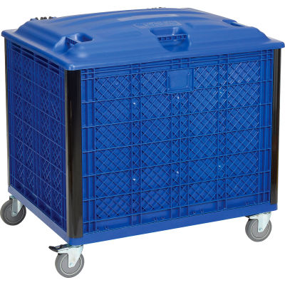 Global Industrial™ Easy Assembly Solid Wall Bulk Container, Lid & Casters 39-1/4x31-1/2x29 Blue