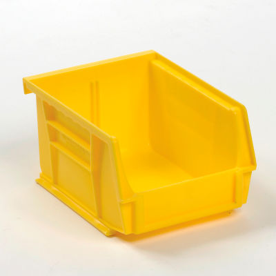 Global Industrial™ Plastic Stack and Hang Parts Storage Bin 4-1/8 x 5-3/8 x 3, Yellow - Pkg Qty 24