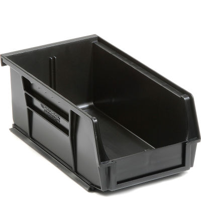 Global Industrial™ Plastic Stack and Hang Parts Storage Bin 4-1/8 x 7-3/8 x 3, Black - Pkg Qty 24
