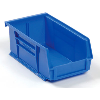 Global Industrial™ Plastic Stack and Hang Parts Storage Bin 4-1/8 x 7-3/8 x 3, Blue - Pkg Qty 24