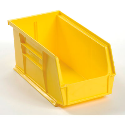 "Global Industrial™ Plastic Stack & Hang Bin, 5-1/2""W x 10-7/8""D x 5""H, Yellow - Pkg Qty 12"