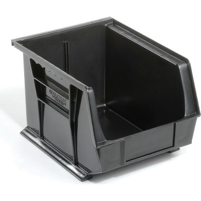 Global Industrial™ Plastic Stack and Hang Parts Storage Bin 8-1/4 x 10-3/4 x 7, Black - Pkg Qty 6