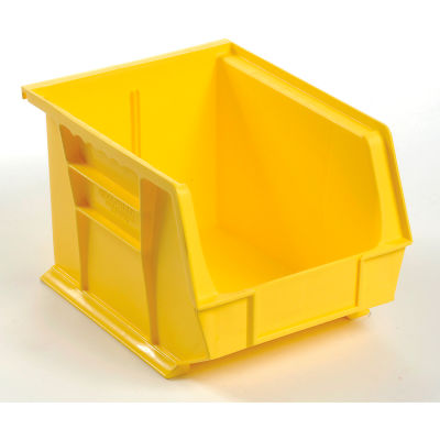 Global Industrial™ Plastic Stack and Hang Parts Storage Bin 8-1/4 x 10-3/4 x 7, Yellow - Pkg Qty 6