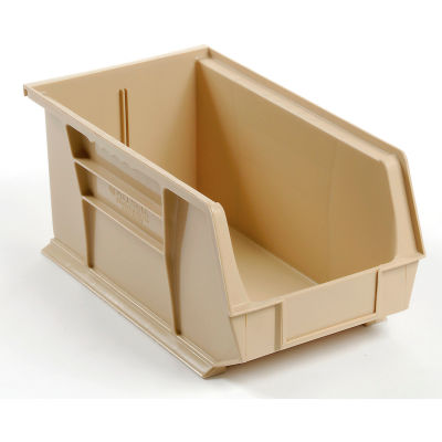 Global Industrial™ Plastic Stack and Hang Parts Storage Bin 8-1/4 x 14-3/4 x 7, Beige - Pkg Qty 12