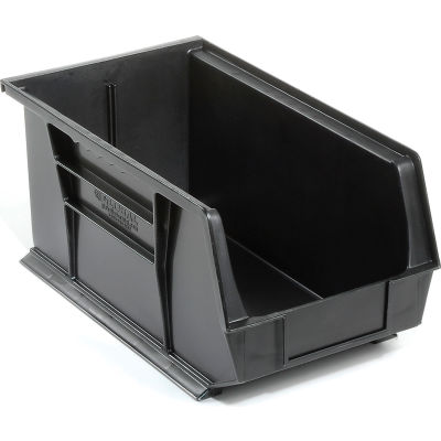 Global Industrial™ Plastic Stack and Hang Parts Storage Bin 8-1/4 x 14-3/4 x 7, Black - Pkg Qty 12
