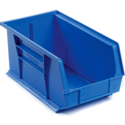 Global Industrial™ Plastic Stack and Hang Parts Storage Bin 8-1/4 x 14-3/4 x 7, Blue - Pkg Qty 12
