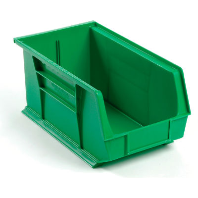 Global Industrial™ Plastic Stack and Hang Parts Storage Bin 8-1/4 x 14-3/4 x 7, Green - Pkg Qty 12