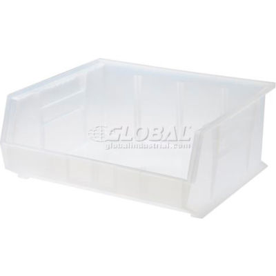 Plastic Stack and Hang Parts Storage Bin 16-1/2 x 14-3/4 x 7 Clear - Pkg Qty 6