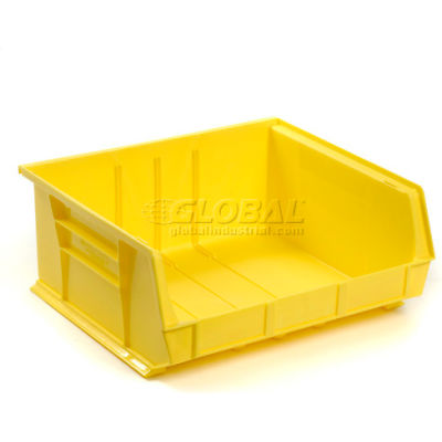 Global Industrial™ Plastic Stack and Hang Parts Storage Bin 16-1/2 x 14-3/4 x 7, Yellow - Pkg Qty 6