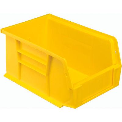 "Global Industrial™ Plastic Stack & Hang Bin, 6""W x 9-1/4""D x 5""H, Yellow - Pkg Qty 12"