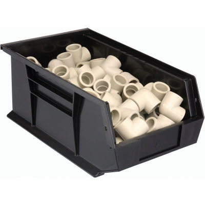 "Plastic Stack & Hang Bin, 8-1/4""W x 13-5/8""D x 6""H, Black - Pkg Qty 12"