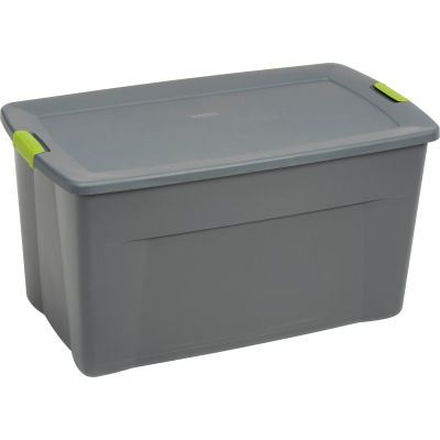 Sterilite 19483V04 Industry Wheeled Storage Tote With Latch 45 Gallon 36-1/2 X 21 X 19-1/2 Flat Gray - Pkg Qty 4