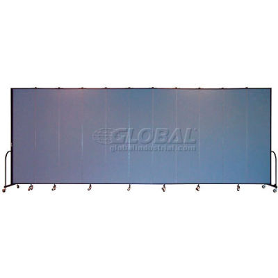 "Screenflex Portable Room Divider 11 Panel, 8'H x 20'5""L, Fabric Color: Blue"