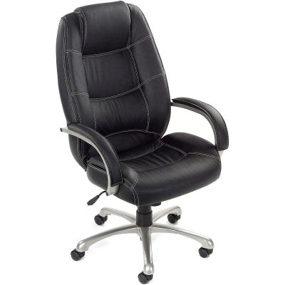 Interion® Executive Office Chair with Arms and Saddle Stitching - Leather - High Back - Black