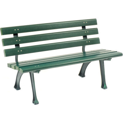 4' Plastic Park Bench With Backrest - Green