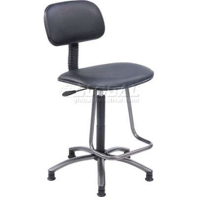 Interion® Office Stool with Teardrop Footrest - Vinyl - Black