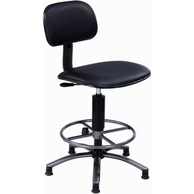 "Interion® Office Stool - Vinyl - 25""- 29"" - Black"