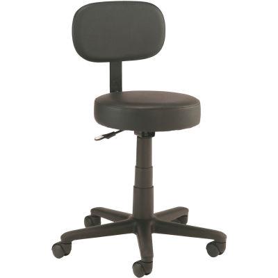 Interion® Shop Stool with Backrest - Vinyl - Black