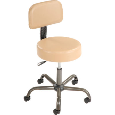 Interion® AntiMicrobial Medical Stool with Backrest - Vinyl - Beige