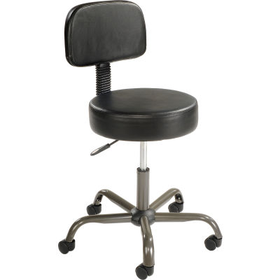 Interion® AntiMicrobial Medical Stool with Backrest - Vinyl - Black