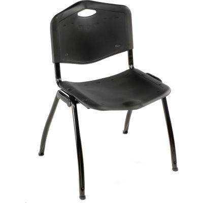 Interion® Oakmont Plastic Stackable Chair - Black - Pkg Qty 4