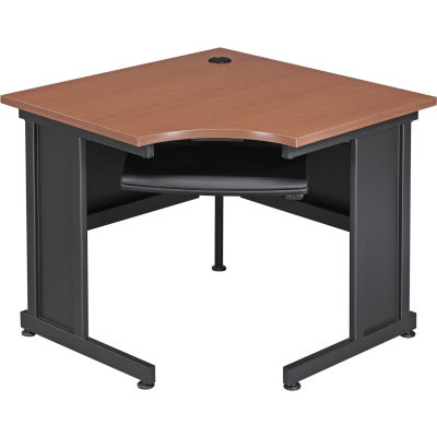 "Interion® 36""W Corner Desk Cherry"
