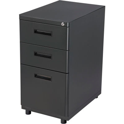 Interion® 3 Drawer Pedestal Box/Box/File - Black