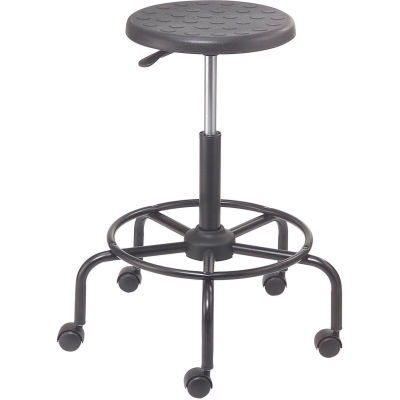 Interion® Shop Stool with Footrest - Polyurethane - Black