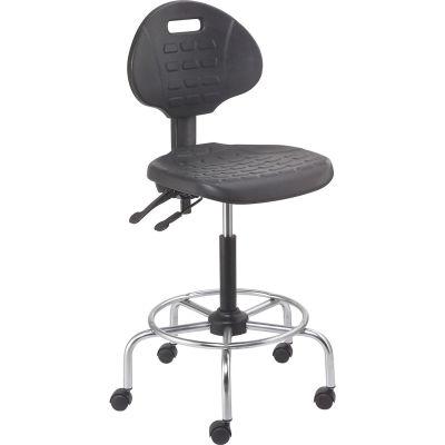 Interion® Shop Stool - Polyurethane - 4 Way Adjustable - Black