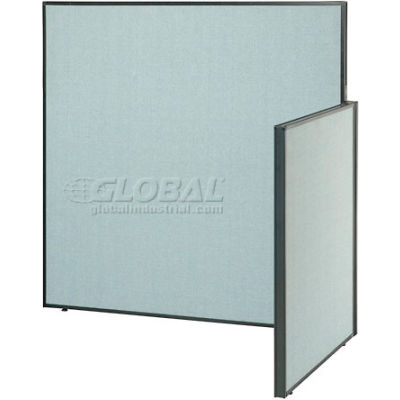 """Interion® Pre-Configured Office Cubicle - 4'W x 4'D x 60""""H - Add-On Kit - Blue"""