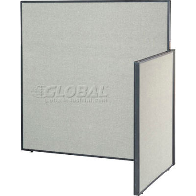 """Interion® Pre-Configured Office Cubicle - 5'W x 4'D x 60""""H - Add-On Kit - Gray"""