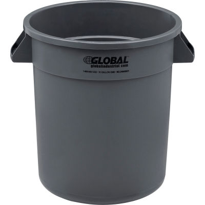 Global Industrial™ Plastic Trash Container, Garbage Can - 10 Gallon Gray