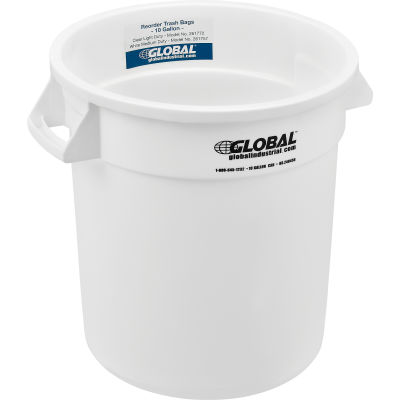 Global Industrial™ Plastic Trash Can - 10 Gallon White