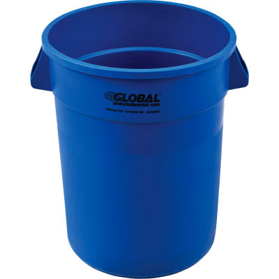 Global Industrial™ Plastic Trash Container, Garbage Can - 32 Gallon Blue