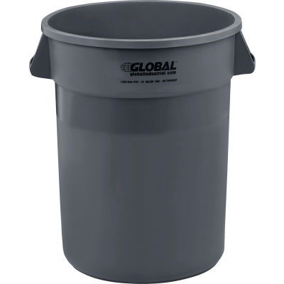 Global Industrial™ Plastic Trash Container, Garbage Can - 32 Gallon Gray
