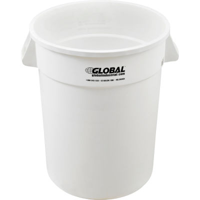 Global Industrial™ Plastic Trash Container, Garbage Can - 32 Gallon White