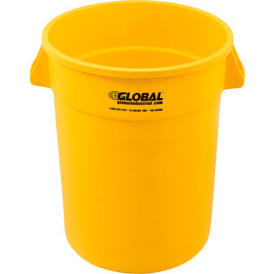 Global Industrial™ Plastic Trash Container, Garbage Can - 32 Gallon Yellow