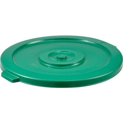 Global Industrial™ Plastic Trash Container, Garbage Can Lid - 32 Gallon Green