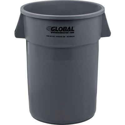 Global Industrial™ Plastic Trash Container, Garbage Can  - 44 Gallon Gray