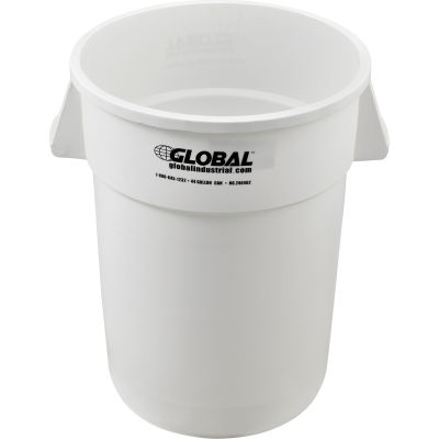 Global Industrial™ Plastic Trash Container, Garbage Can - 44 Gallon White