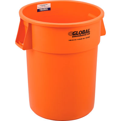 Global Industrial™ Plastic Trash Can - 55 Gallon Bright Orange
