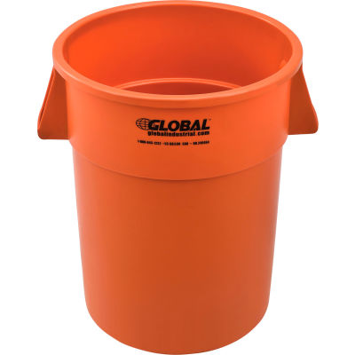 Global Industrial™ Plastic Trash Container, Garbage Can - 55 Gallon Orange