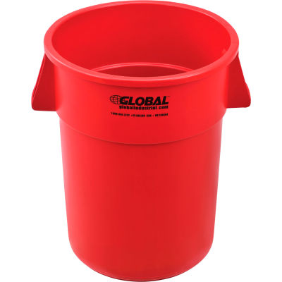 Global Industrial™ Plastic Trash Container, Garbage Can - 55 Gallon Red