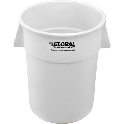 Global Industrial™ Plastic Trash Container, Garbage Can - 55 Gallon White