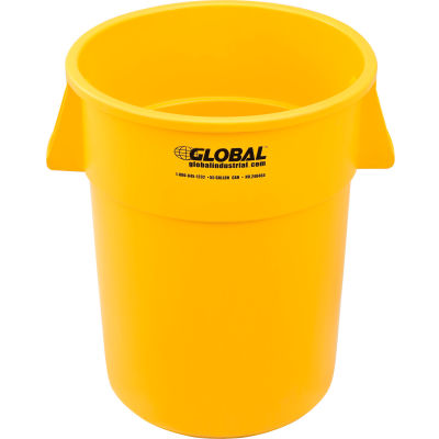 Global Industrial™ Plastic Trash Container, Garbage Can - 55 Gallon Yellow