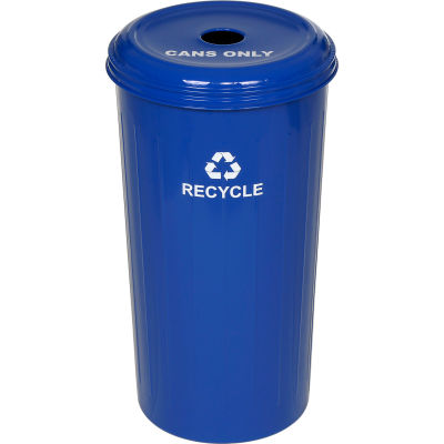 Round Steel Blue Recycling Container with Cans Lid - 20 Gallon Capacity - 10/1DTDB