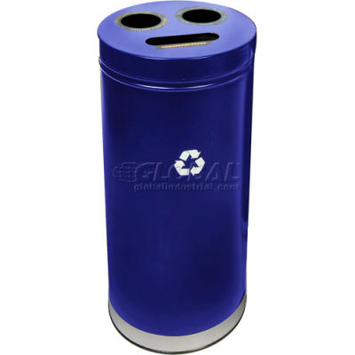 """3-In-1 Steel Recycling Container Blue 15""""Dia X 32""""H - 15RTBL"""